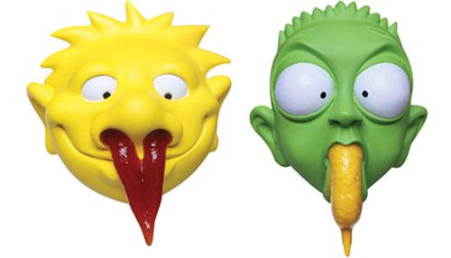 Senf und Ketchup Spender Gesichter