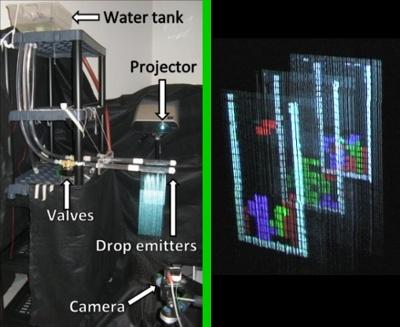 Drei Lagen Multi Layer Display aus Wasser