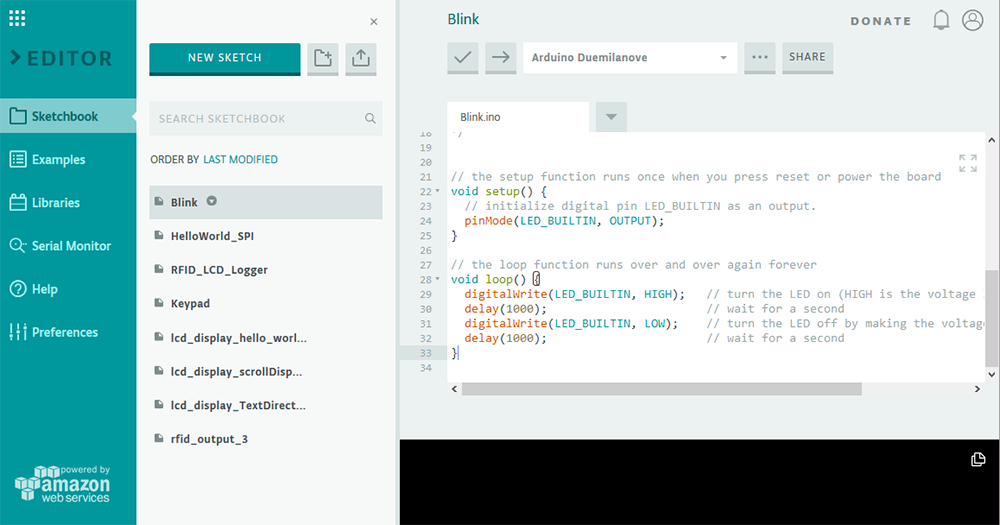 Screenshot Arduino Web-Editor