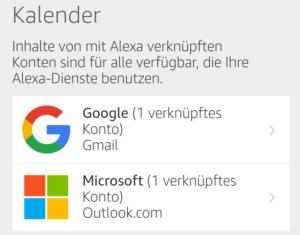 Kalender Konten in Alexa App