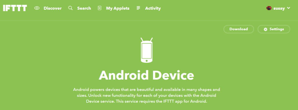 IFTTT Android device trigger